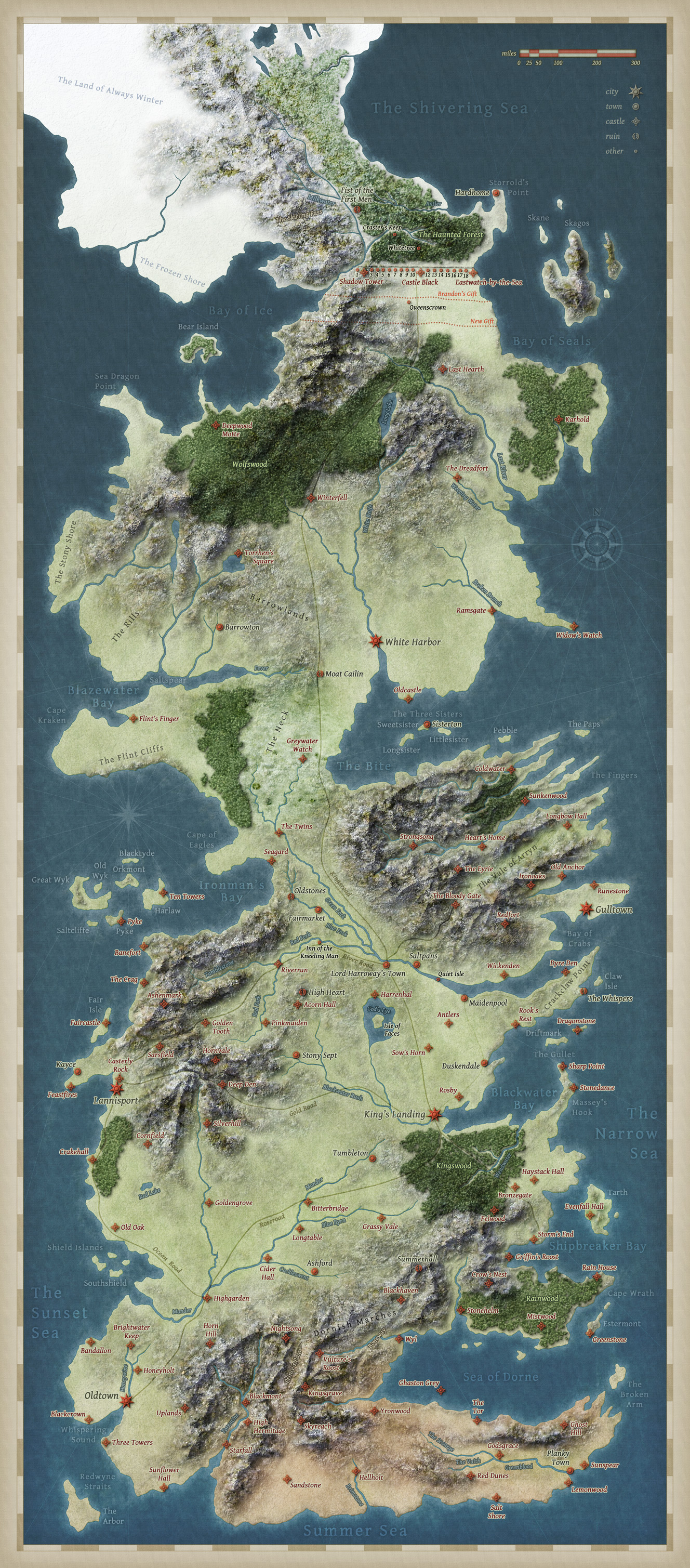 A Song of Ice and Fire - Speculative world map